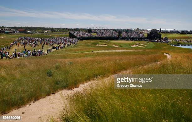 A general view of the ninth green during the second round of the 2017 US Open at Erin Hills on June 16 2017 in Hartford Wisconsin