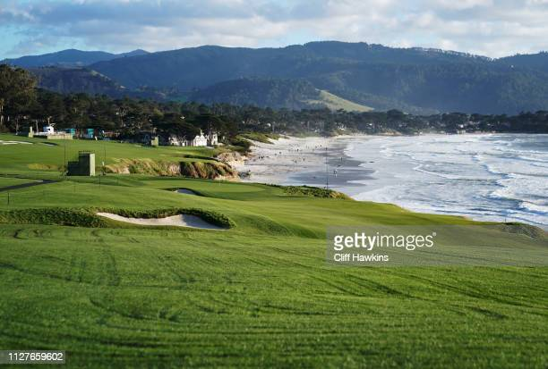 A general view of the ninth hole during a practice round prior to the ATT Pebble Beach ProAm at Pebble Beach Golf Links on February 05 2019 in Pebble...