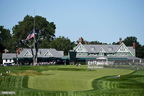 A general view of the ninth hole during a practice round prior to the US Open at Oakmont Country Club on June 13 2016 in Oakmont Pennsylvania