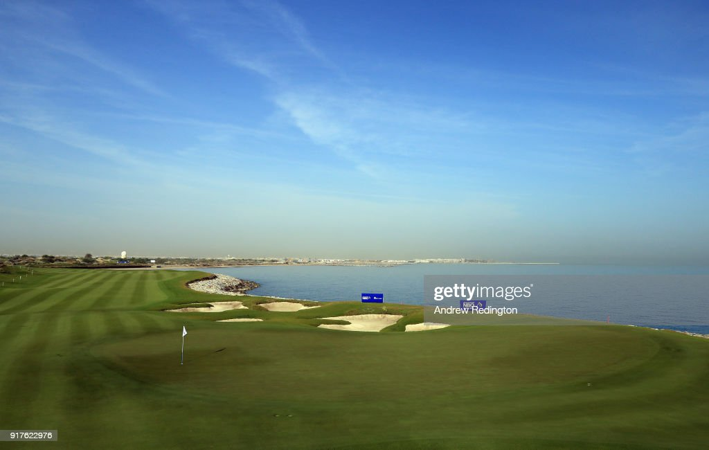 A general view of the ninth hole during practice for the NBO Oman Golf Classic at Al Mouj Golf on February 13, 2018 in Muscat, Oman.