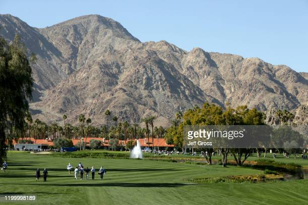 General view of the ninth hole during the first round of The American Express tournament at La Quinta Country Club on January 16, 2020 in La Quinta,...