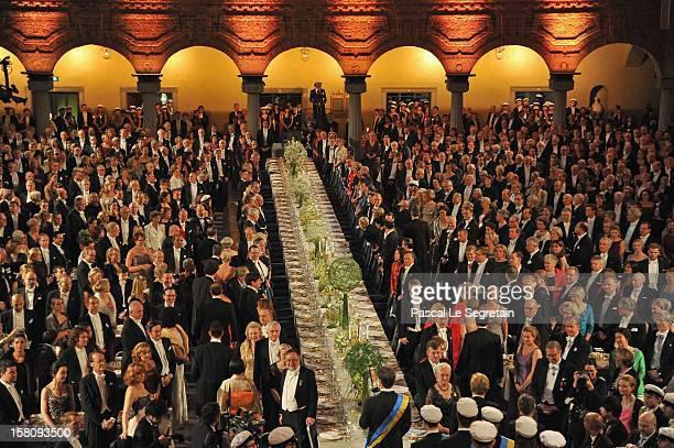 General view of the Nobel Banquet after the 2012 Nobel Peace Prize Ceremony at Town Hall on December 10 2012 in Stockholm Sweden
