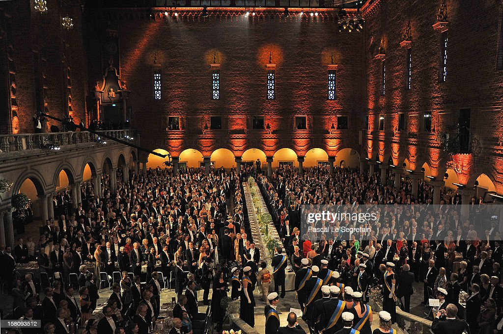 General view of the Nobel Banquet after the 2012 Nobel Peace Prize Ceremony at Town Hall on December 10, 2012 in Stockholm, Sweden.