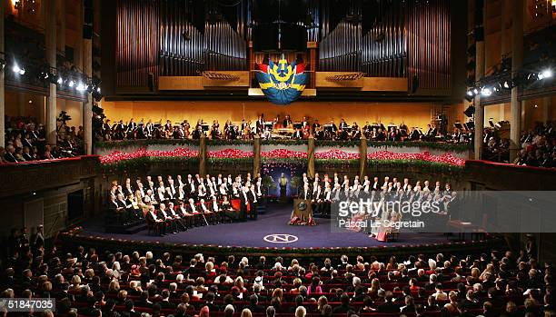General view of the Nobel Prize Award Ceremony at the Concert Hall on December 10, 2004 in Stockholm, Sweden. The prizes were being awarded at...