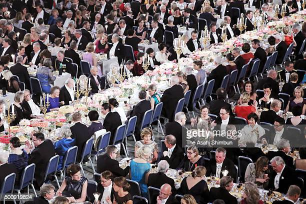 A general view of the Nobel Prize Banquet 2015 at City Hall on December 10 2015 in Stockholm Sweden
