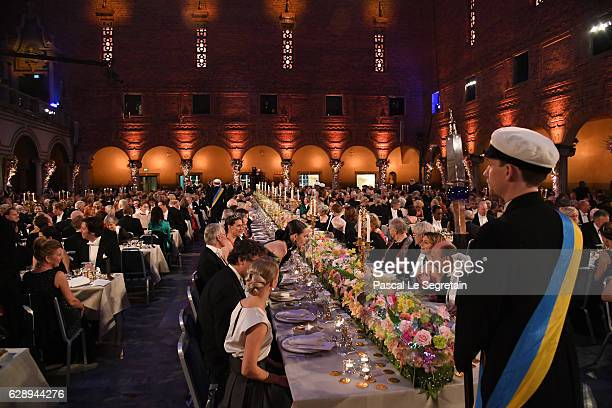 General view of the Nobel Prize Banquet 2015 at City Hall on December 10 2016 in Stockholm Sweden