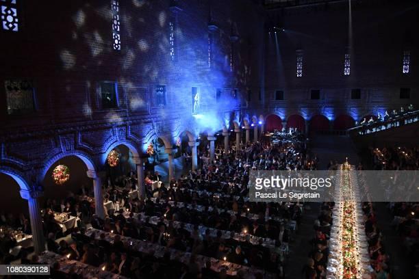 General view of the Nobel Prize Banquet 2018 at City Hall on December 10 2018 in Stockholm Sweden