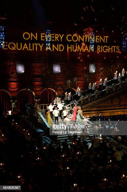 A general view of the Nobel Prize Banquet after the 2013 Nobel Prize Awards Ceremony at City Hall on December 10 2013 in Stockholm Sweden