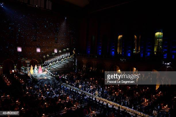 A general view of the Nobel Prize Banquet after the 2013 Nobel Prize Awards Ceremony at City Hall on December 10 2013 in Stockholm Sweden