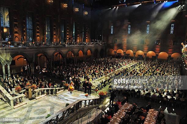A general view of the Nobel Prize Banquet at Stockholm City Hall on December 10 2011 in Stockholm Sweden