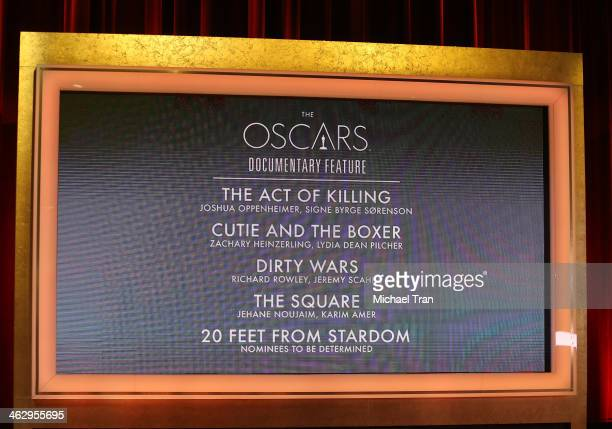 General view of the nominees at the 86th Academy Awards nominations announcement held at AMPAS Samuel Goldwyn Theater on January 16, 2014 in Beverly...