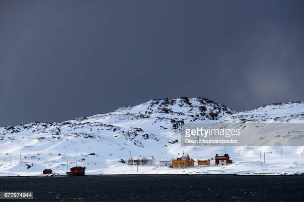 A general view of the Nordefjorden fjord with islands Haja Soroya Hellefjord and Melkoya near Hammerfest on March 28 2017 in Finnmark Norway