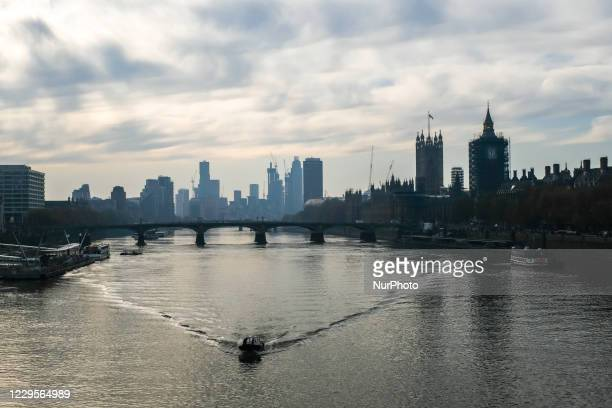 General view of the north bank of the river Thames during the second national lockdown, due to the second wave of Covid-19, in London on November 6,...