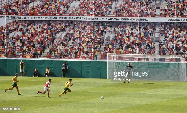 A general view of the North Bank Stand Mural during the FA Premier League match between Arsenal and Norwich City at Higbury on August 15 1992 in...