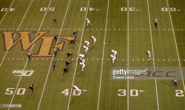 A general view of the North Carolina Tar Heels against the Wake Forest Demon Deacons during their game at BBT Field on September 13 2019 in Winston...