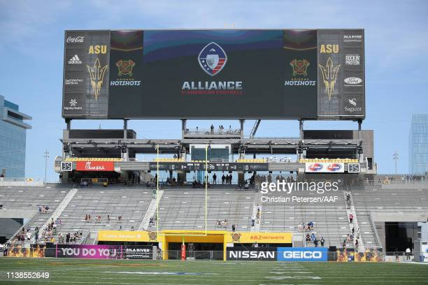 General view of the north scoreboard before the AAF game between the San Diego Fleet and the Arizona Hotshots at Sun Devil Stadium on March 24 2019...