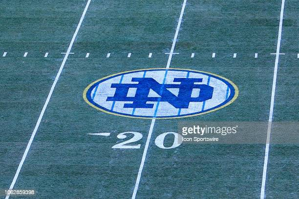 General View of the Notre Dame Pinstripe Logo on the field inside of Yankee Stadium prior to the College Football game between the Notre Dame...