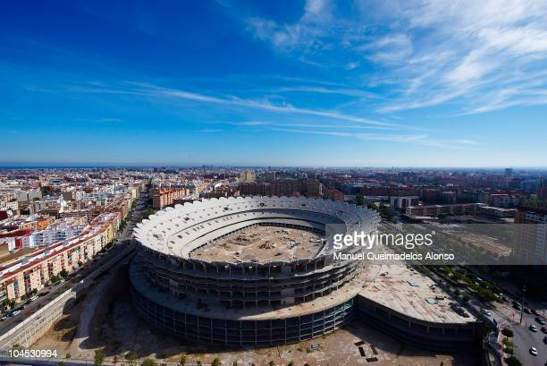 General view of the Nou Mestalla Stadium, which is half built as Valencia struggle with a huge debt and so continue to play at the old Estadio...