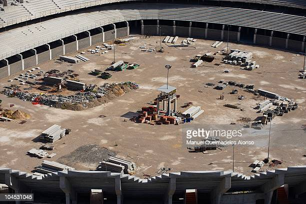 A general view of the Nou Mestalla Stadium which is half built as Valencia struggle with a huge debt and so continue to play at the old Estadio...