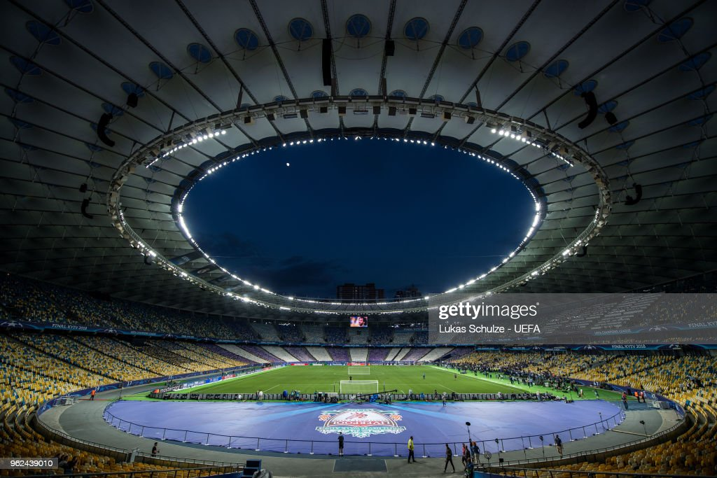 General view of the NSC Olimpiyskiy stadium during a Real Madrid training session ahead of the UEFA Champions League final between Real Madrid and Liverpool on May 25, 2018 in Kiev, Ukraine.