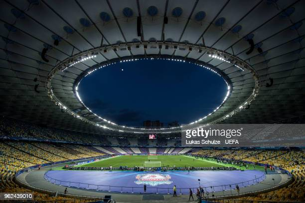 General view of the NSC Olimpiyskiy stadium during a Real Madrid training session ahead of the UEFA Champions League final between Real Madrid and...