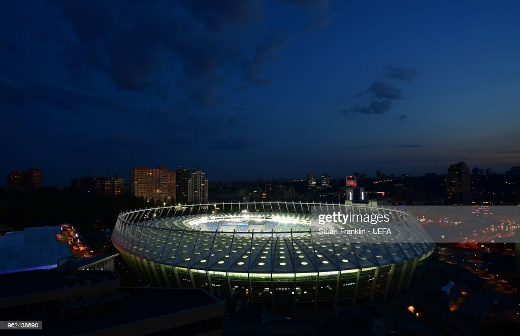 A general view of the NSC Olimpiyskiy stadium prior to the UEFA Champions League final between Real Madrid and Liverpool on May 25, 2018 in Kiev, Ukraine.