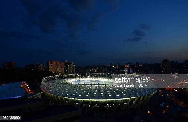 A general view of the NSC Olimpiyskiy stadium prior to the UEFA Champions League final between Real Madrid and Liverpool on May 25 2018 in Kiev...