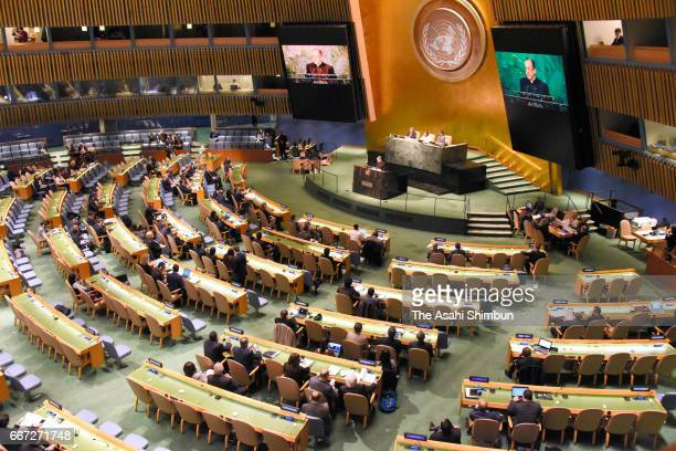 A general view of the nuclear ban treaty discussion at the United Nations headquarters on March 27 2017 in New York City The US and more han 30...