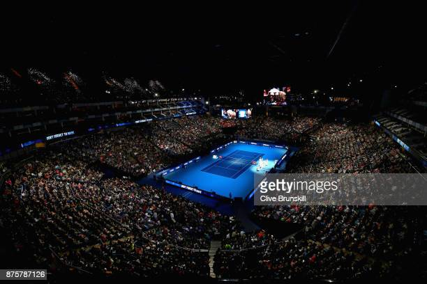 A general view of the O2 Arena as Roger Federer of Switzerland plays against David Goffin of Belgium in their semi final match the Nitto ATP World...