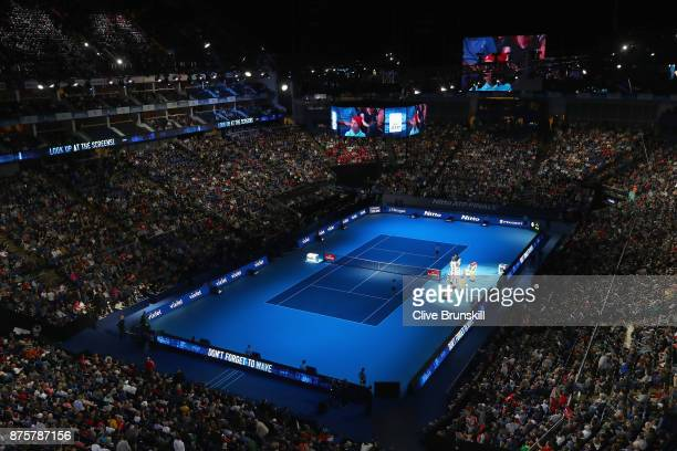 General view of the O2 Arena as Roger Federer of Switzerland plays against David Goffin of Belgium in their semi final match the Nitto ATP World Tour...