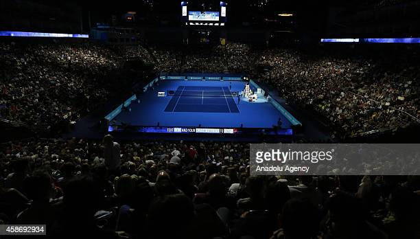 General view of the O2 Arena court during the singles group B match between Andy Murray of Great Britain and Kei Nishikori of Japan on the first day...
