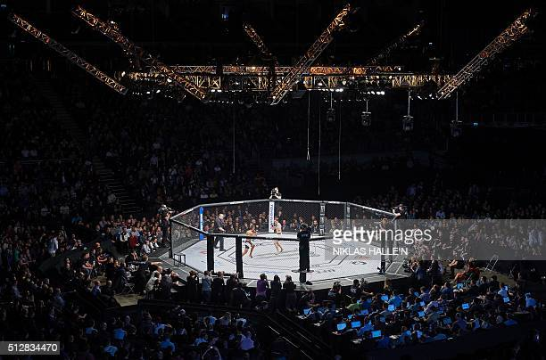 General view of the O2 Arena during the Ultimate Fighting Championship Fight Night event in London on February 27, 2016. / AFP / NIKLAS HALLE'N