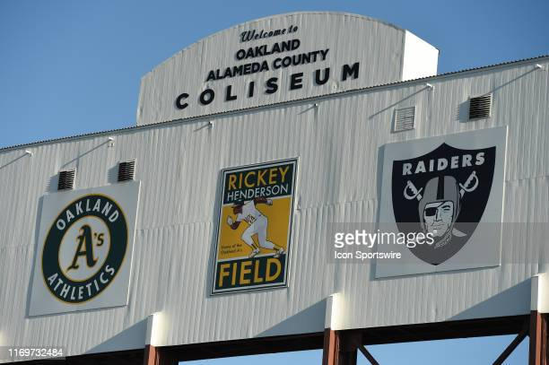 General view of the Oakland Alameda County Coliseum sign before the Major League Baseball game between the Kansas City Royals and the Oakland...