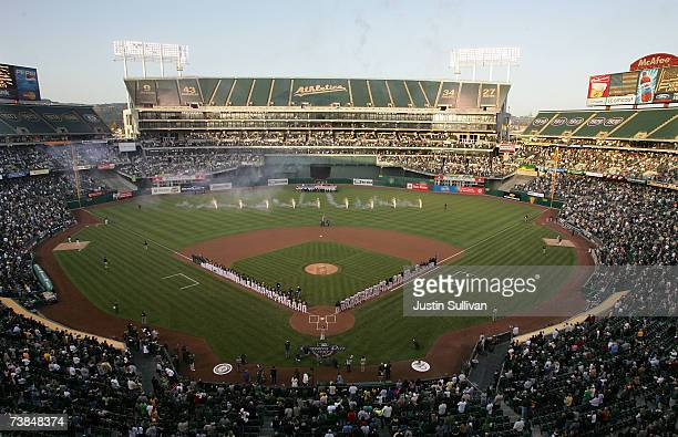 A general view of the Oakland Athletics and Chicago White Sox during pregame ceremonies during the A's opening night game on April 9 2007 at the...