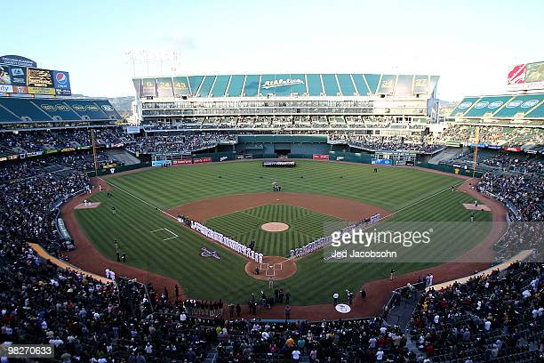 General view of the Oakland Athletics and the Seattle Mariners on Opening Day game at the Oakland-Alameda County Coliseum on April 5, 2010 in...