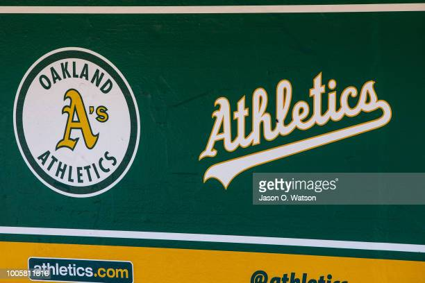 General view of the Oakland Athletics logos in the dugout before the game against the San Francisco Giants at the Oakland Coliseum on July 22, 2018...