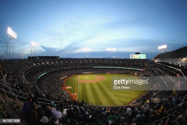 A general view of the Oakland Athletics playing against the Chicago White Sox at Oakland Alameda Coliseum on April 17 2018 in Oakland California The...