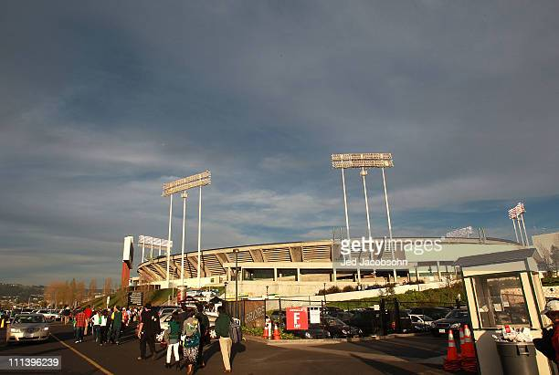 A general view of the Oakland Coliseum before the Oakland Athletics and the Seattle Mariners opening day game at the OaklandAlameda County Coliseum...