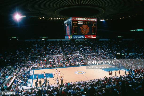 General view of the Oakland Coliseum during a game played between the Atlanta Hawks and Golden State Warriors circa 1990 at the Oakland Coliseum in...