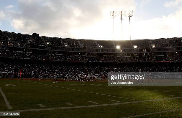 General view of the Oakland Raiders and the San Francisco 49ers NFL preseason game at Oakland-Alameda County Coliseum on August 28, 2010 in Oakland,...
