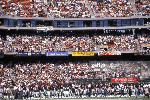 General view of the Oakland Raiders sideline at the Oakland/Alameda County Coliseum during a preseason game against the St Louis Rams on August 12...