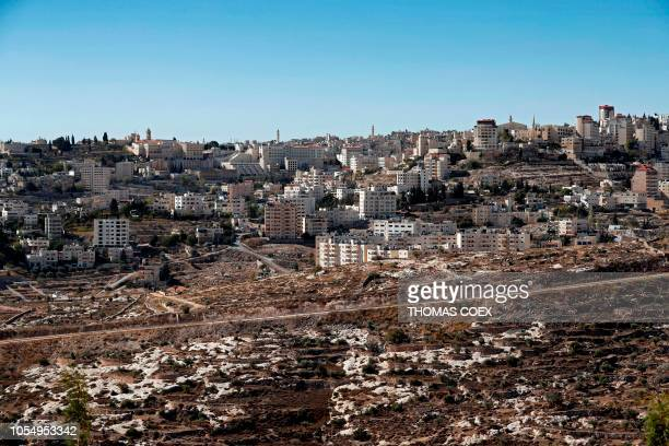 TOPSHOT General view of the occupied West Bank city of Bethlehem taken from the Israeli settlement of Har Homa in east Jerusalem on October 29 2018