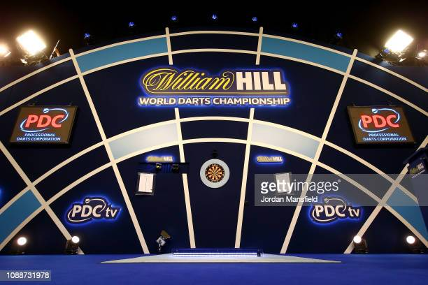 A general view of the oche ahead of the start of the Final match between Michael van Gerwen of the Netherlands against Michael Smith of England...