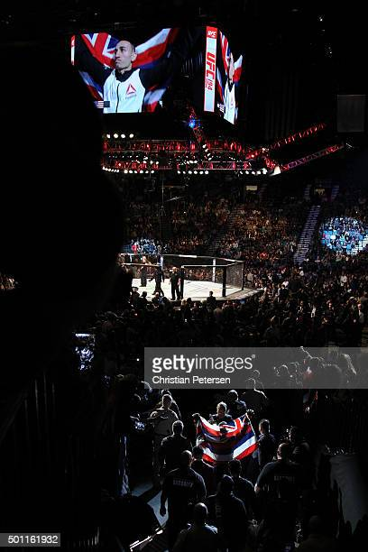A general view of the Octagon as Max Holloway walks to it during the UFC 194 event inside MGM Grand Garden Arena on December 12 2015 in Las Vegas...