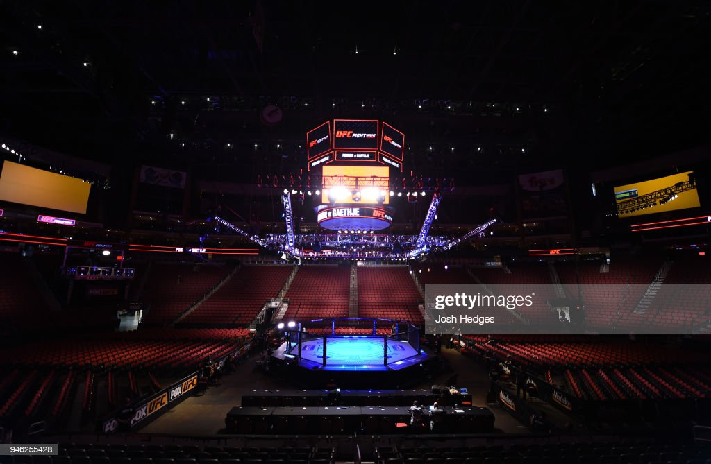 A general view of the Octagon before the UFC Fight Night event at the Gila Rivera Arena on April 14, 2018 in Glendale, Arizona.