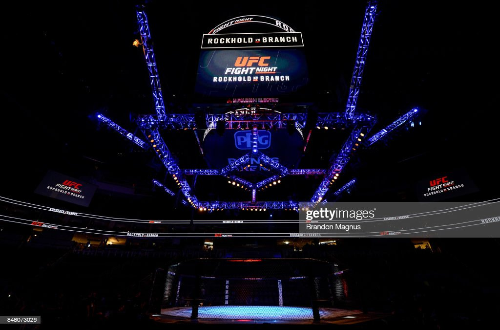 A general view of the Octagon before the UFC Fight Night event inside the PPG Paints Arena on September 16, 2017 in Pittsburgh, Pennsylvania.