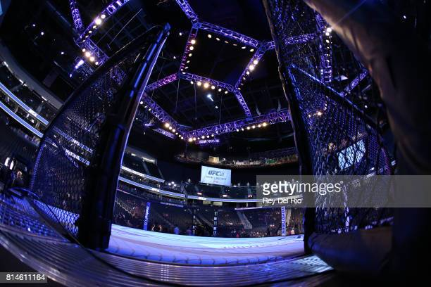 A general view of the Octagon during the UFC 213 event at TMobile Arena on July 9 2017 in Las Vegas Nevada