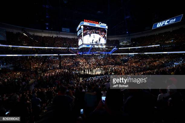 A general view of the Octagon during the UFC 214 event inside the Honda Center on July 29 2017 in Anaheim California