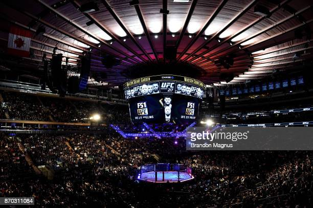 A general view of the Octagon during the UFC 217 event inside Madison Square Garden on November 4 2017 in New York City