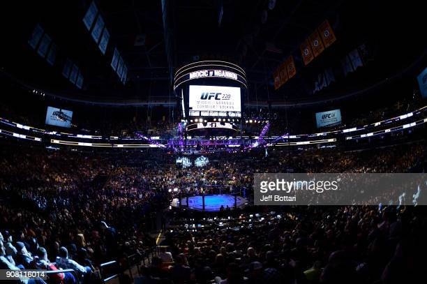 A general view of the Octagon during the UFC 220 event at TD Garden on January 20 2018 in Boston Massachusetts